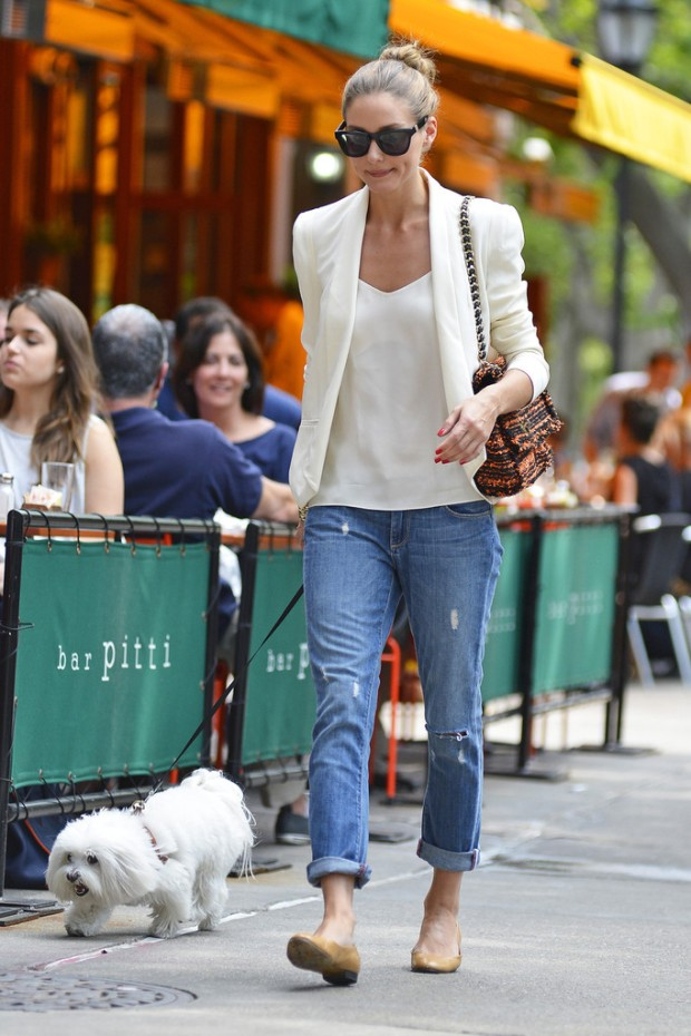 Olivia Palermo Jeans White Blazer NY