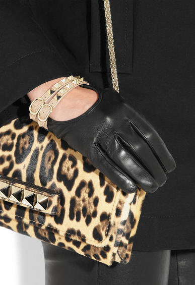 Valentino studded gloves black